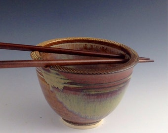 Individual Rice / Noodle bowl - Tan w earth red accents