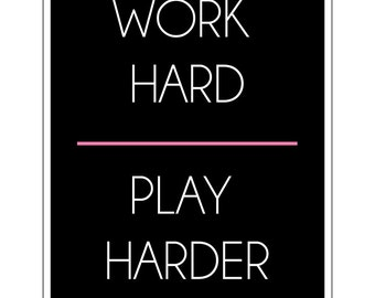 Work Hard Play Harder Illustrated Print Mid-Century Modern