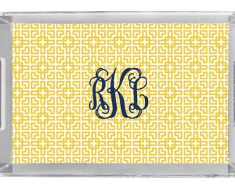 """Personalized Lucite Tray with Monogram - 11"""" x 17"""""""