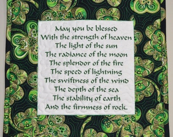 St Patricks Day Irish Blessing Wall Art, Green Quilted Wallhanging with Shamrock border, Irish Home Decor