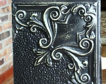 "Genuine Antique Ceiling Tile -- 12"" x 12"" -- Distressed Black Paint -- Unique Swirl Design"