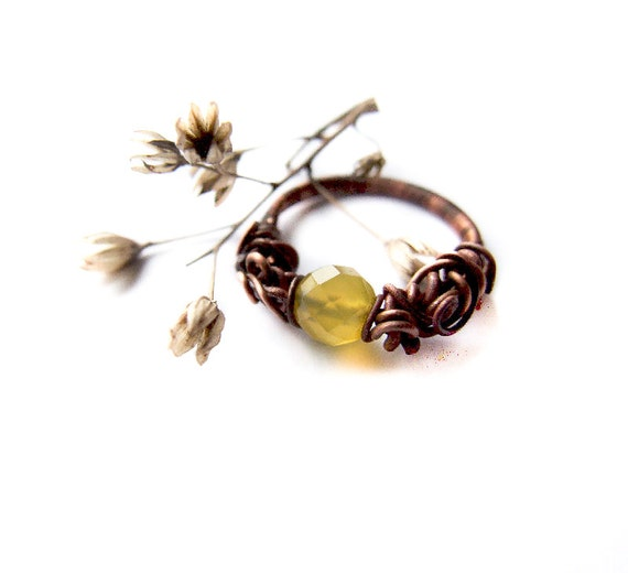 Jonquille Ring, Floral Yellow Quartz Ring, Yellow Jewelry, Sunny, Quartz Jewelry, Cute Sunny Copper Ring