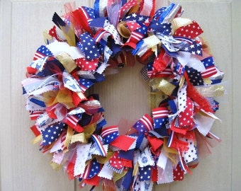 4th of July Wreath, Patriotic Wreath, Rag Wreath, Red White and Blue, Ribbon Wreath, Stars and Stripes, Patriotic Decor, Americana Decor