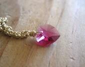 SALE!  Swarovski Crystal Heart, Gold Necklace - 20% OFF
