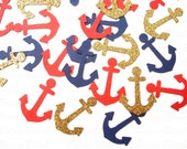 100 Nautical Glitter Gold Navy Red Anchors punch die cut confetti scrapbook embellishments - No988