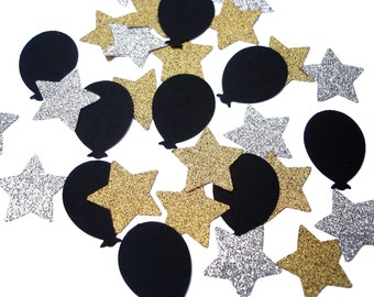 50 Graduation Confetti, Stars and Balloons, New Years Party Decor, Glitter Gold Silver and Black - No1019