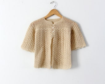 FREE SHIP  vintage 20s crotchet cardigan top, small sweater