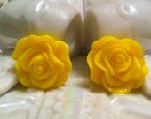 Custom Listing for Chelsea - Yellow Rose Stud Earrings