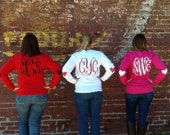 Long Sleeve (No Pocket) Heart Patches Monogram Shirt - Valentines - Elbow Patches - Glitter Vinyl