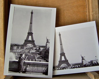 Vintage Eiffel Tower Black and White Photos 1930s Reprint 1990 Paris Tower France Photography World Tour French Decor Shabby Cottage