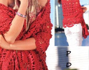 Crochet  Pattern instruction for Pineapple scarf In PDF file