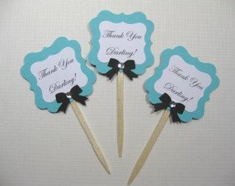 Set of 10  Audrey Hepburn Breakfast at Tiff... Cupcake Toppers - Darling - Aqua Blue Bridal Shower - Pool Blue - Food Picks - Cupcake Picks