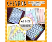 SIZE: A5 Chevron Dividers (Top or Side Tabs / Regular Set) Cute Kawaii Personalised for Filofax Organizer