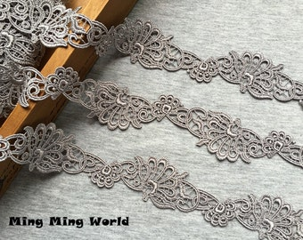 Vintage Lace Trim - 2.5 Yards Grey Flower Lace Trim (L501)
