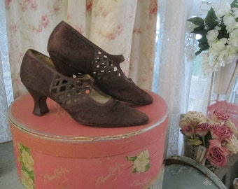 Antique Vintage Edwardian Flapper Dance Shoes Brown Silk Floral Damask Cutout Design
