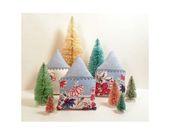Hand Sewn Christmas Houses - Hand Stiched Vintage Fabrics - Putz Inspired