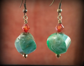 Chunky Green and Red Earrings