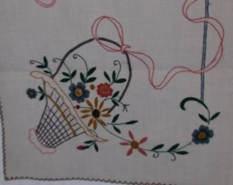Vintage Linen Table Runner or Dresser Scarf, Off White Cotton with Red and Blue Edge, Basket Embroidery