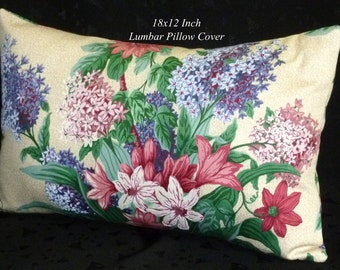Throw Pillow, Decorative Pillow, Accent Pillow, Lumbar Pillow - One 18inch x 12inch Lumbar - Purple, Pink, and Green Floral