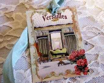 French Gift Tags, Antoinette Gift Tag, French Gift Tag, Mixed Media Art Tag, Wedding Gift Topper, Paris Gift Tag, ECS