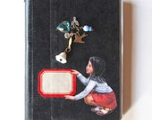 Vintage cover book recycled into Art Journal, Diary - Assemblage of vintage charms, found objects, beads and rhinestones - Paper Pack