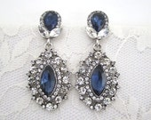 Wedding Blue Earrings Sapphire Clear Rhinestone Dangle Bridal Evening Art Deco Something Blue Silver Woman Jewelry Accessory Hollywood Glam