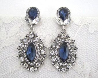 Wedding Blue Earrings Sapphire Clear Rhinestone Dangle Bridal Evening Art Deco Something Blue Silver Woman Jewelry Accessory Hollywood Glam