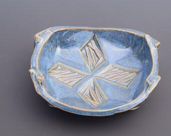 Handmade Ceramic Decorative Medium Blue Green Tan Spoon Rest Soap Dish Key Dish Change Dish SF ETSY Handmade Ceramics
