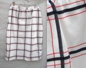 Red White & Blue Plaid Vintage Skirt