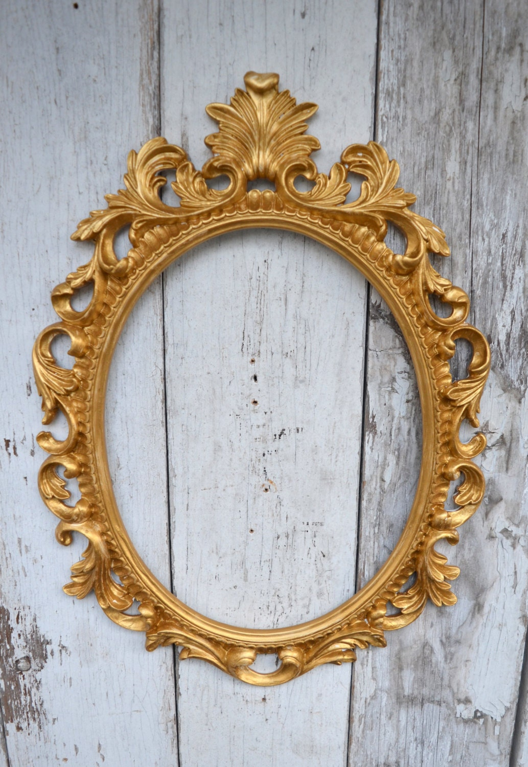 Oval picture frame large ornate baroque fancy gold portrait for Large portrait mirror