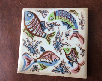 Vintage Colorful Fish Tile