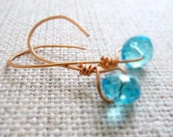 Hammered Copper Artisan Earrings, Simple Blue Earrings, Simple Jewelry, Hammered Copper Jewelry, Minimalist Jewelry, Single Bead Earrings