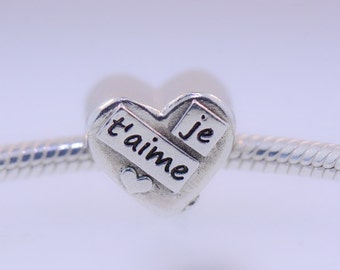 Je T'aime (I love you) In French  - Fine Silver fits Pandora Bracelet