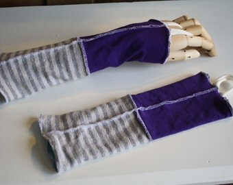 Eco Friendly fingerless gloves; wrist warmers, texting gloves