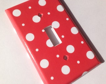 Red White Polka Dot Single Light Switch Plate Cover / Red Bedroom Decor/ Minnie  Mouse