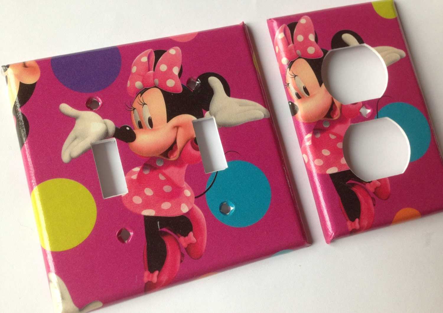 minnie mouse pink double light switch cover set / minnie