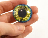 30mm Blue and Yellow Glass Eye for Pendant Jewelry Making or Taxidermy Human Fantasy Doll Eyeball Flatback Circle