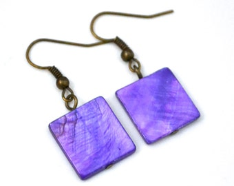 Purple Mother of Pearl Squares . Earrings
