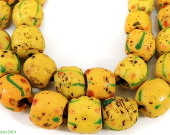 Venetian Trade Beads Yellow Stripes African 90618