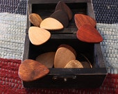 Box set of 15 mixed premium woods guitar picks wooden guitar picks