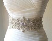 Luxury wide statement crystal, pearl bridal sash. 4 inch wide beaded rhinestone wedding belt. VERA