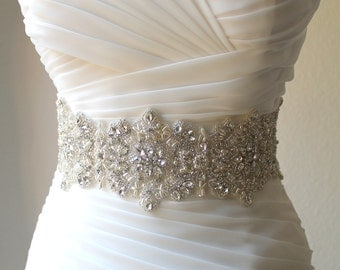 Luxury Thick/Wide Statement Crystal, Pearl Bridal Sash. 4 inch Wide Beaded Rhinestone Wedding Dress Belt. VERA