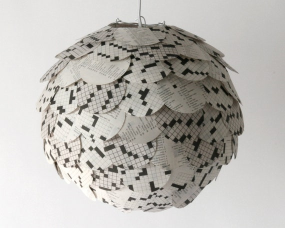 Crossword puzzle pendant light