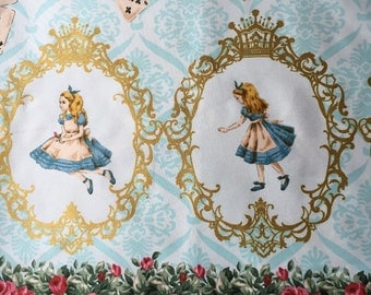 Alice in wonderland fabric green base colour One yard Yesterday and Today