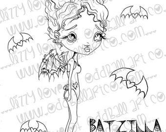 INSTANT DOWNLOAD Digi Stamp Digital Image Cute Big Eye Bat Fairy & Friends ~ Batzilla Image No.185 / 185B by Lizzy Love