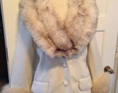 Vintage Lilli Ann Knits White Jacket with fur collar and cuffs 1960s LOVELY!