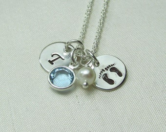 Initial Necklace Sterling Silver Mothers Necklace Birthstone Monogram Necklace Footprint Necklace New Baby Gift Personalized Initial Jewelry