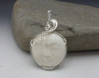 Carved Bone Face Celestial Lovers Sun and Moon Pendant Sterling Silver Handmade Wire Wrapped
