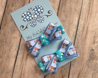 Mini Bow Hair Clip Set-No Slip Hair Clips-Inspired by Frozen-Anna and Elsa-Sisters-Pigtails