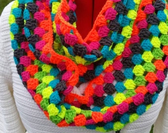 Ready to ship, Colorful granny infinity scarf, Valentine's Day gift
